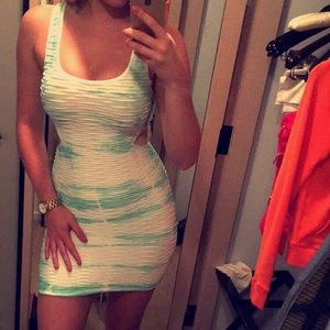 Bebe white and teal dress